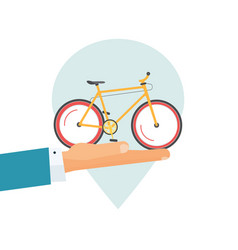 rental bicycle icon or rent a bike place pin vector image