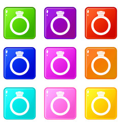 ring icons 9 set vector image