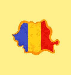 Romania - map colored with romanian flag vector