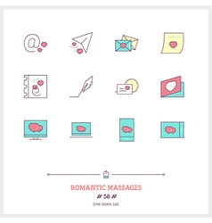 ROMANTIC MESSAGES Line Icons Set vector image