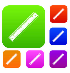 ruler set color collection vector image