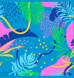 seamless pattern with colorful palm leaves vector image