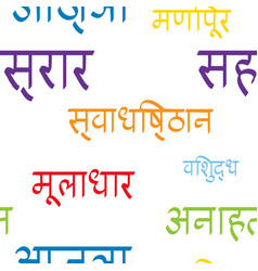 Seamless pattern with names chakras in sanskrit vector