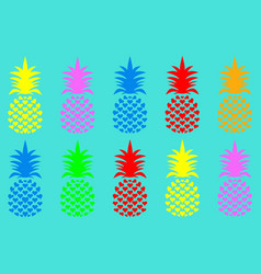 seamless summer pineapple fruit with vivid fashion vector image