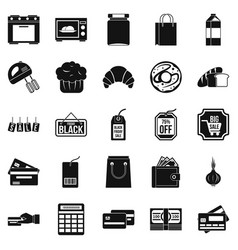 Self-service shop icons set simple style vector