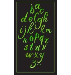 Set hand-drawn calligraphy alphabet on black vector