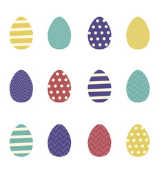 set of colorful easter eggs with ornaments vector image