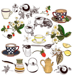 Set of hand drawn elements cups teapots and other vector