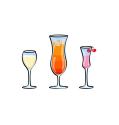 set of tropical cocktails vector image