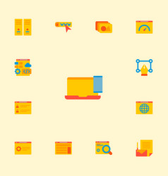 set of website icons flat style symbols with web vector image