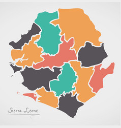 sierra leone map with states vector image