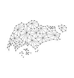 singapore map of polygonal mosaic lines network vector image