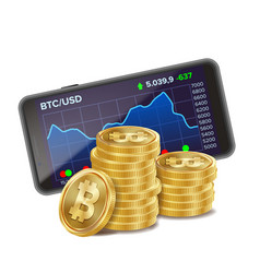 smartphone and bitcoin coins digital money vector image
