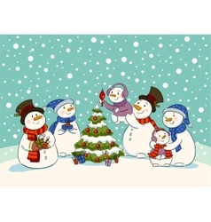 Snowman holiday party vector image