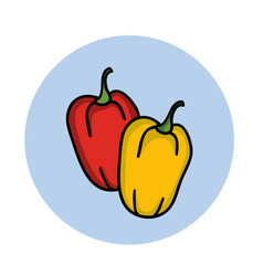 sweet bell pepper hand drawn icon cartoon vector image