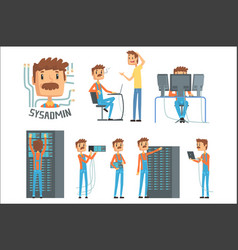 Sysadmin network engineer characters set of vector
