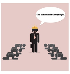 The customer is always right concept vector