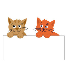 two funny cute pet cat looks up and holds a paper vector image