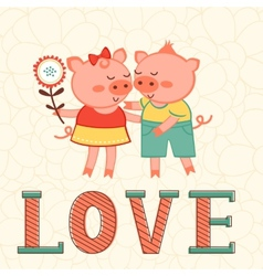 Valentines day card with two pigs in love vector