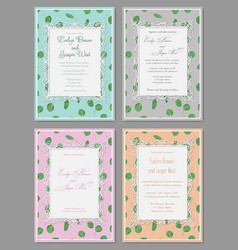 Watercolor hand painted green floral card with vector