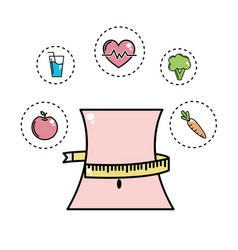 Weist with meter and healthy tools icons vector