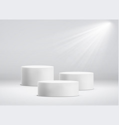 White cylinder template 3d base stand podium vector