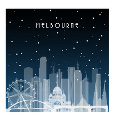 Winter night in melbourne night city in flat vector