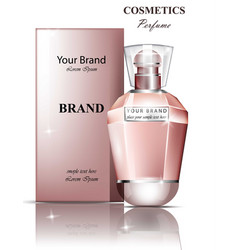 Women perfume bottle fragrance realistic vector