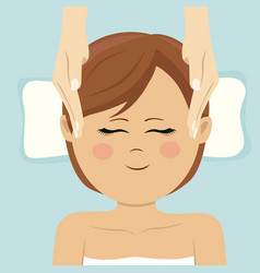 Young woman having head massage in spa top view vector