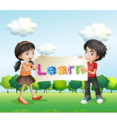 A young man and a young lady holding a banner vector image