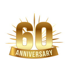 anniversary golden sixty years number vector image