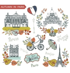 Autumn in ParisFamous landmarks and floral vector image vector image