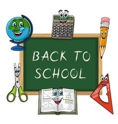 Blackboard with funny school supplies vector image
