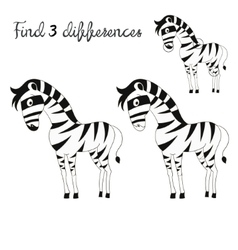 Find differences kids layout for game zebra vector image vector image