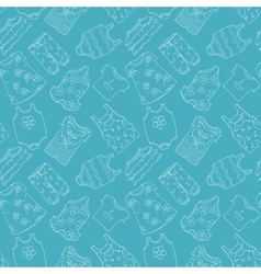 Hand-drawn seamless pattern of children cothes vector image