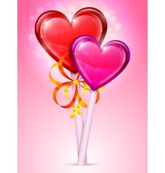 Heart lollipops vector image vector image