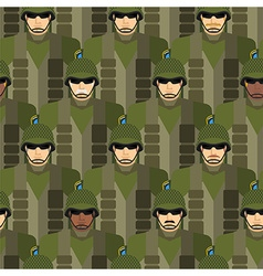 Marines seamless pattern Soldiers in helmets and vector image