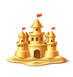 realistic sand castle fort fortress towers vector image vector image