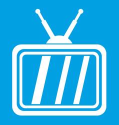 retro tv icon white vector image