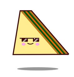 sandwich cartoon character icon kawaii fast food vector image