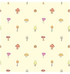 Seamless of mushrooms set vector image vector image