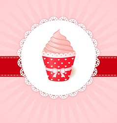 Vintage greetings card Pink cream cupcake vector image