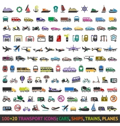 100 AND 20 Transport colored icons vector image vector image