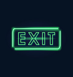 exit green neon sign vector image