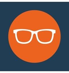 glasses orange emblem over blue background icon vector image