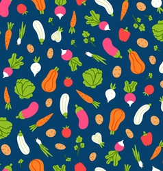 Vegetables pattern on blue background vector image vector image