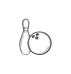 bowling hand drawn sketch icon vector image vector image