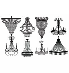 Classic crystal chandeliers set collection vector