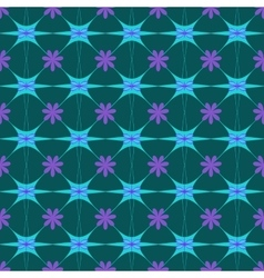 Flower and square blue seamless pattern vector image