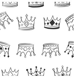 hand draw crown pattern style vector image vector image